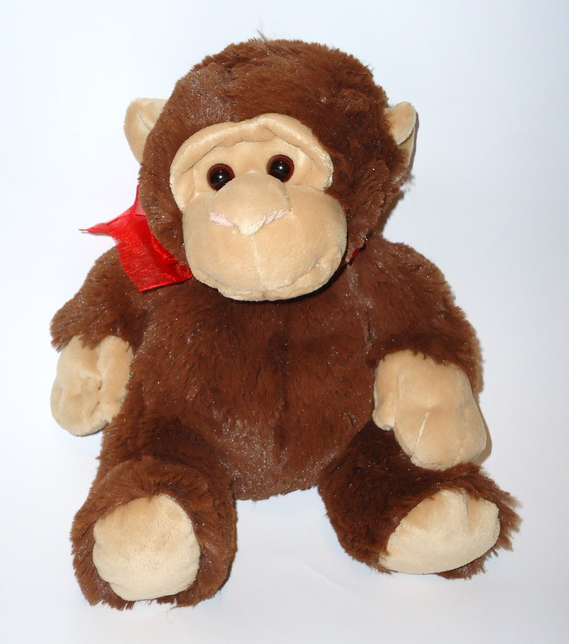 Walmart Plush Brown Monkey Red Bow Stuffed Animal Valentine's Day Shaggy Fur