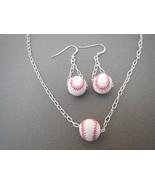 Ceramic Baseball Earrings Pendant Handmade - $23.50