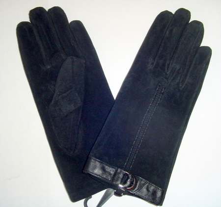 Women Black GENUINE LEATHER Suede GLOVES Small
