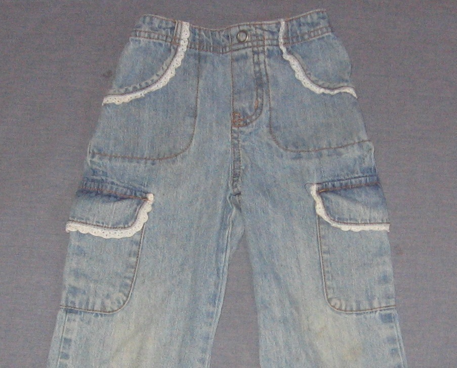 Cherokee 4T Girls Jean Pants with Lace Lined Pockets