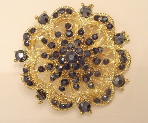 Gold PLATED Black RHINESTONES PIN BROOCH FLOWER