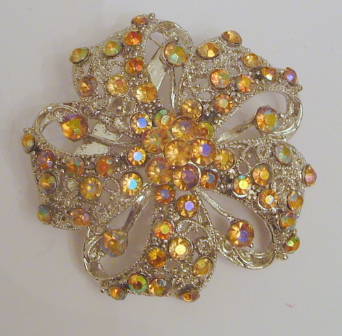 Silver PLATED Yellow RHINESTONES PIN BROOCH FLOWER