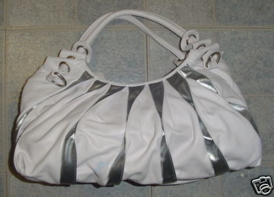 White & Silver tone Large Tote PURSE Handbag BAG
