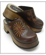 1970's Vintage Candies Clogs / Mules w Leather Flowers - $25.00