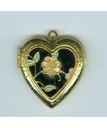 Cloissone Flower Heart Locket Costume Jewelry C... - $5.99