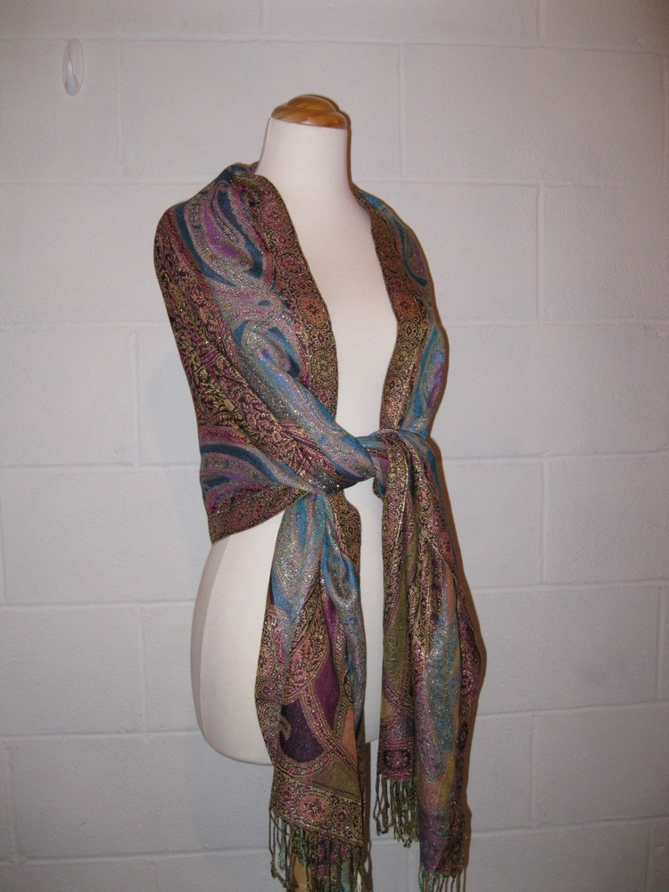 Beautiful Shawl NEW Amazing Multi Color Metallic Large Fashion Scarf NWT