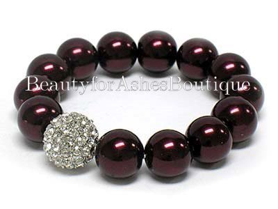 BURGUNDY GLASS FAUX PEARL STRETCH OPERA BRACELET PAVE CZ