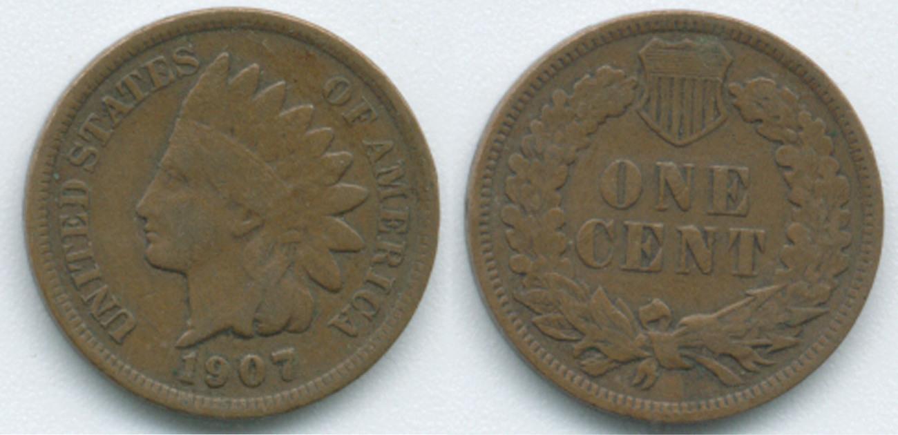 Ih196 1907 Indian Head Penny Bronze Indian Head