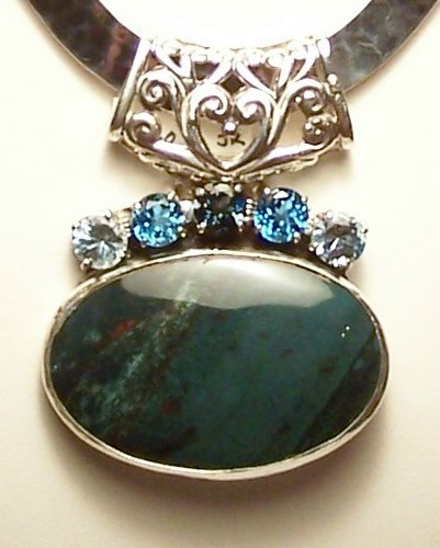 Indian Bloodstone Blue Topaz Sterling Silver Pendant Slide MADE IN USA OOAK
