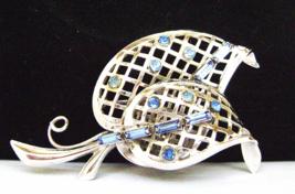 Vintage Sterling Brooch Blue Baguette Rhineston... - $25.00