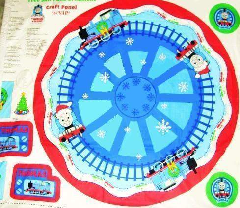 Thomas the Tank Engine Train Christmas Tree Craft Panel fabric