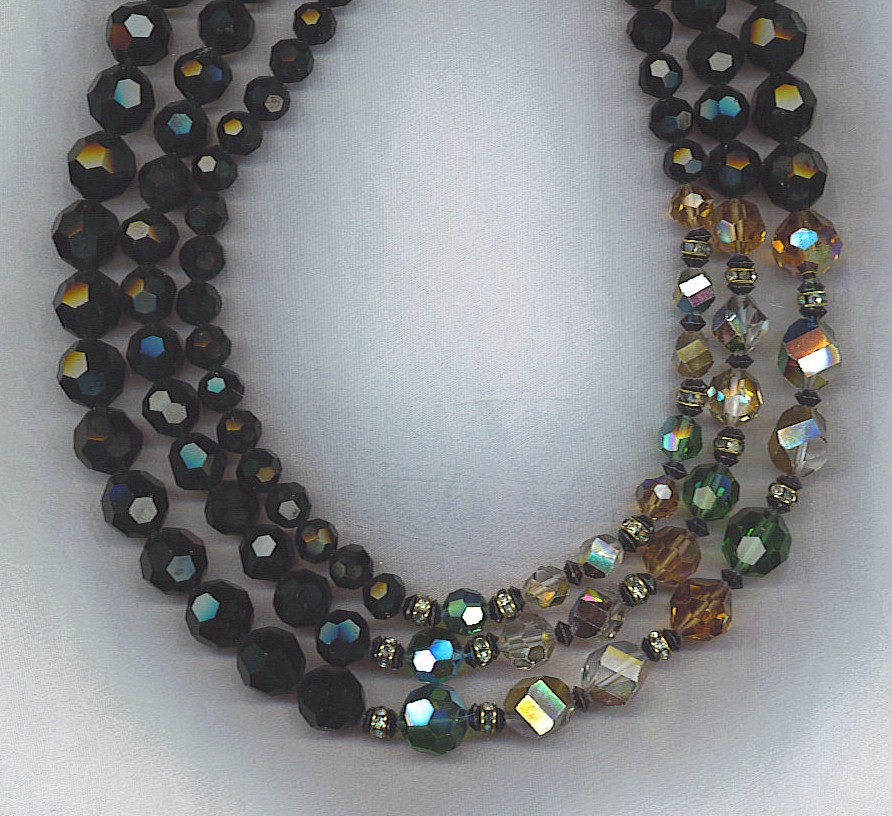 VENDOME  Aurora Borealis & Black Crystals 3 Strand Vtg. Necklace