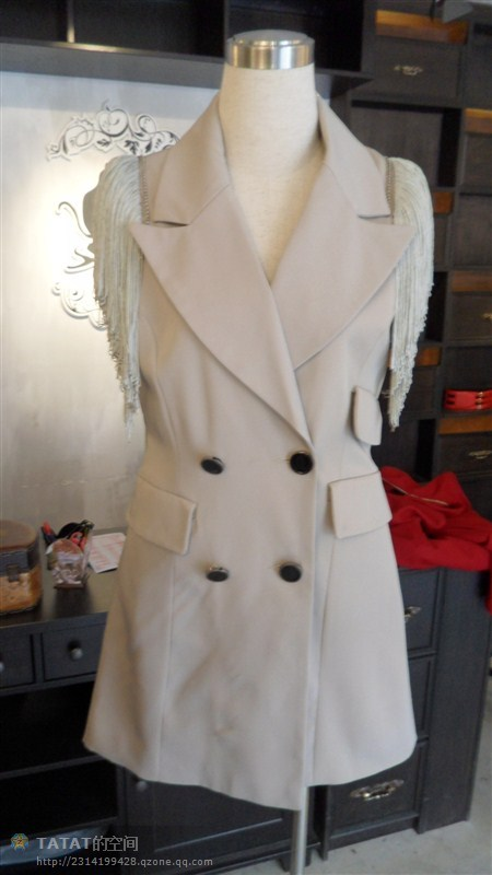 Designer Jacket with Tassel Sleeve Beiges One Size