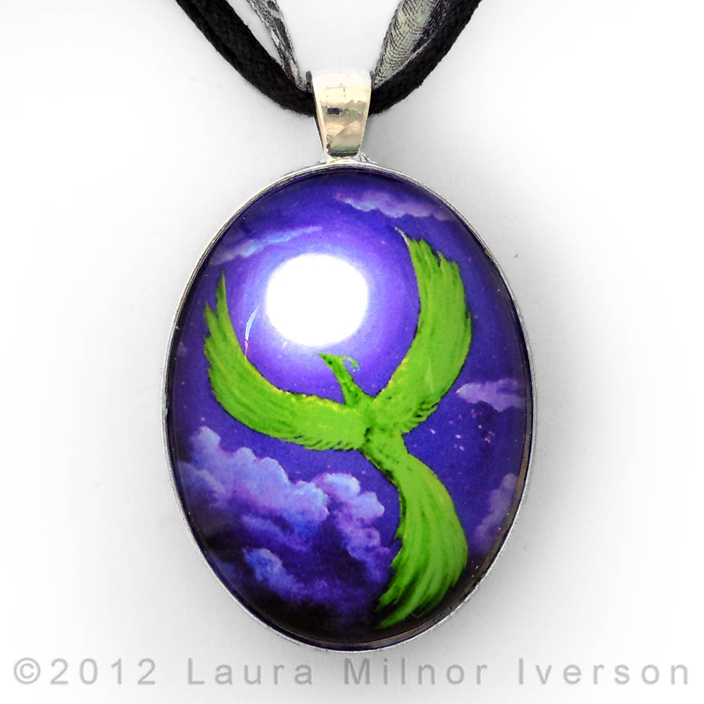 Phoenix Green Purple Fantasy Bird Surreal Night Moon Handmade Jewelry Pendant