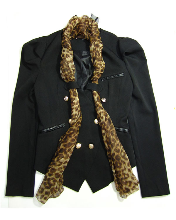 NEW Design Black Blazer Coat with Leopard Scarf Size S M