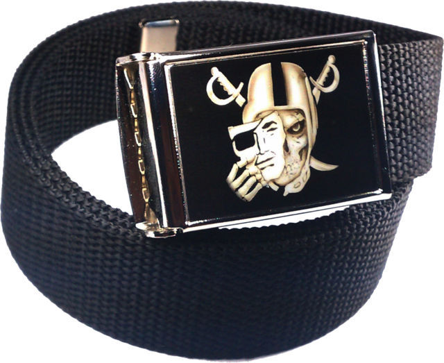 Oakland Raiders Skull Buckle/Bottle Opener and Web Belt (PICK A BELT COLOR)