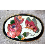Butterfly & Rose Cloisonne Belt Buckle Signed SITI - $12.00