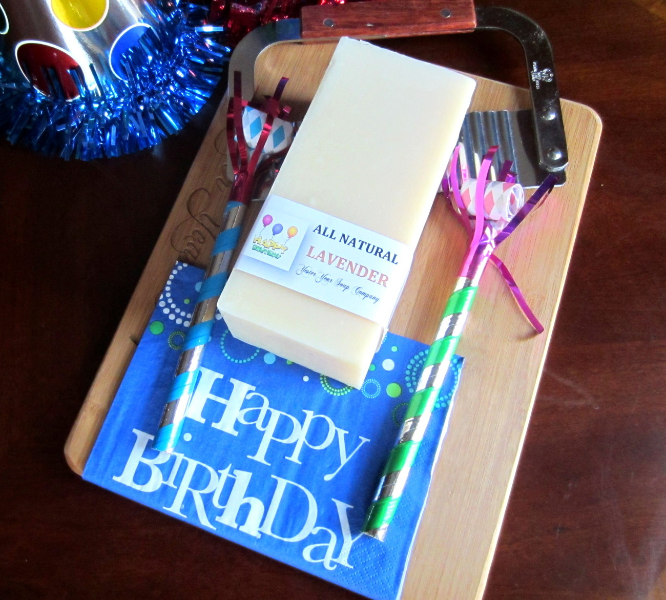 'Happy Birthday' Loaf of Soap w/Cutter & Cutting Board