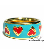 NWT COACH PoPpY Teal Blue Enamel Red Heart Gold... - $59.98