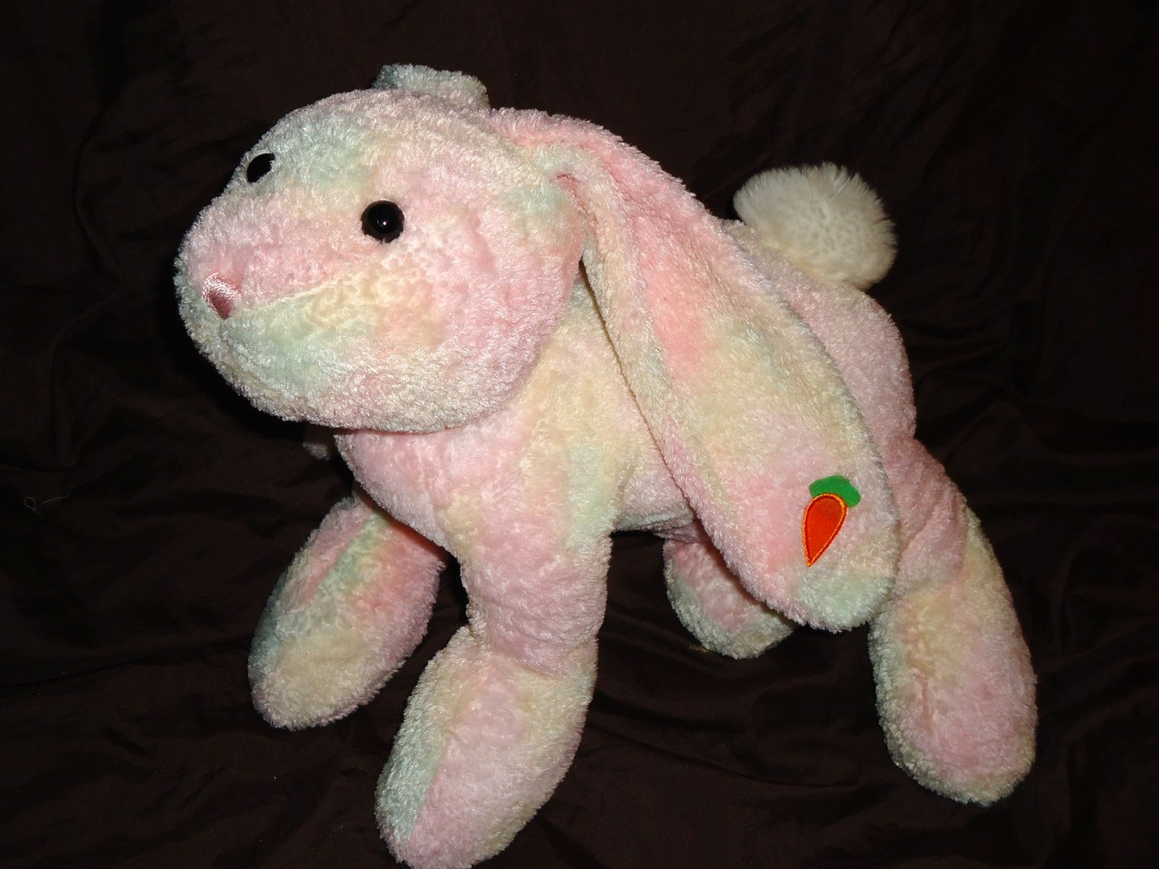 Walmart Pink Easter Bunny Floppy Ear Carrot Plush Stuffed Animal Tie Dye