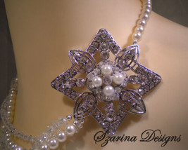 Swarovski Pearl and Crystal Necklace, Art Deco ... - $99.00