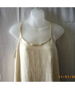 Long cream crinkly rayon sleeveless dress - $15.00