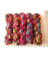 20  skeins Sari silk yarn recycled Christmas cr... - $45.24