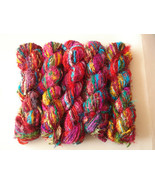 40 Skeins Sari silk yarn recycled Christmas crafts - $95.26