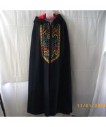 Long navy wool cape with embroidered front, red... - $69.00