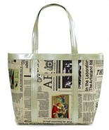 Cloth Newspaper Print Bag with Color Art - $25.99