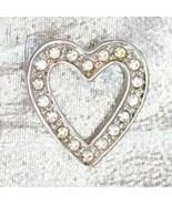 Elegant Avon Crystal Rhinestone Silvery Heart Pin - $12.95