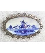 Antique Victorian Delft Porcelain Windmill Silv... - $79.95
