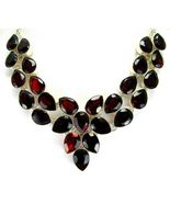Table-Top Faceted Red Garnet Teardrops Sterling... - $271.68