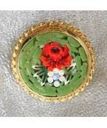 Elegant Green & Red Italian Glass Mosaic Flower... - $22.95