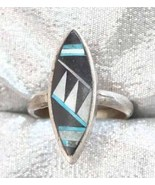 Ancient Civ 70s Turquoise, Black Onyx & Shell Ring - $19.95