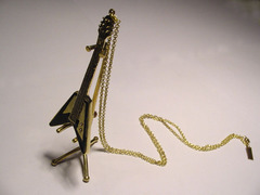Brass Flying V Guitar with Stand Pendant with Chain