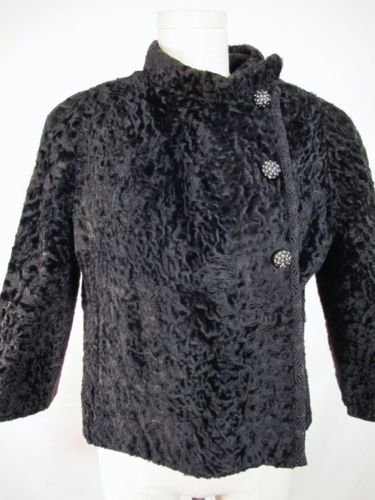 VTG BLACK PERSIAN LAMB CROP JACKET RHINESTONE BUTTONS S