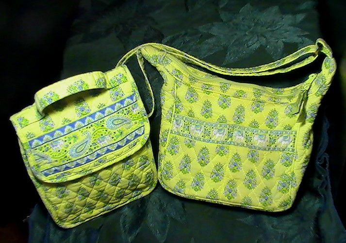 Vera Bradley Purse and Lunch Bag Green Citrus Elephant Print retired 2 Pc Lot