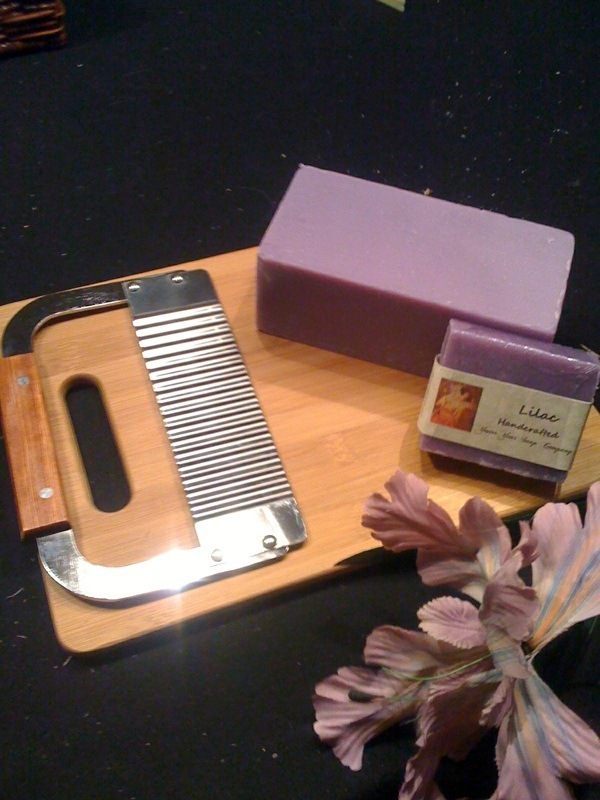 Loaf of Lilac Soap with a Cutter   Cutting Board