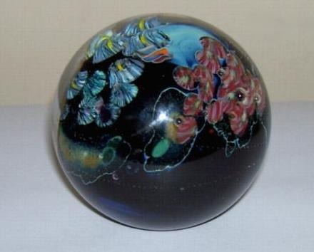 Josh Simpson Signed Glass Paperweight Inhabited Planet