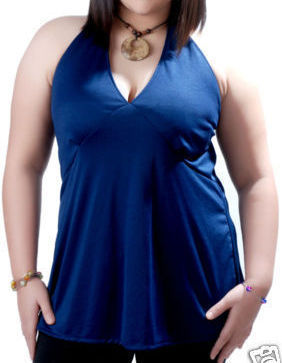 Womens Sexy Plus Size Clothing Blue Halter Top 3X 22/24