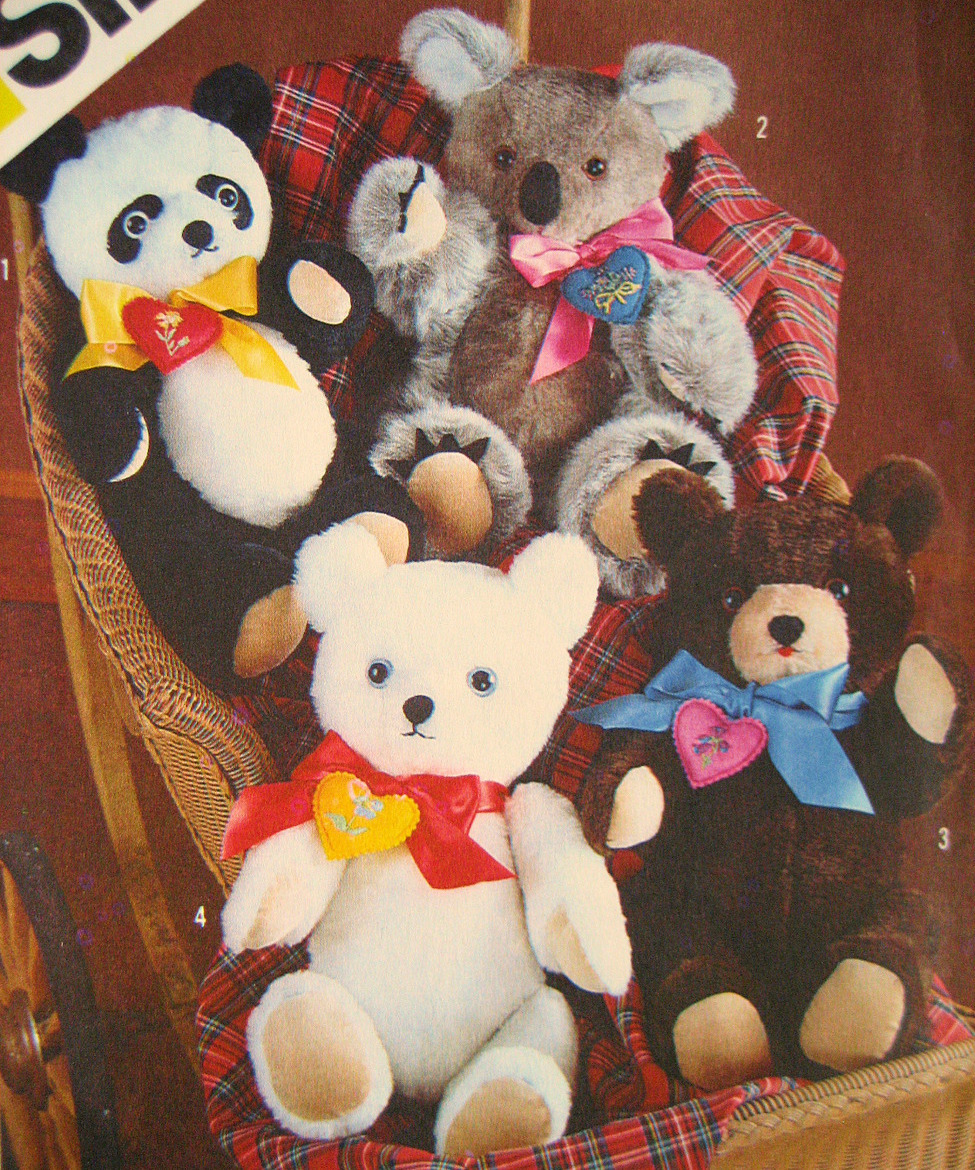 Simplicity 6142 Vintage Stuffed Bear Pattern Four Chic Bears Transfers Unused