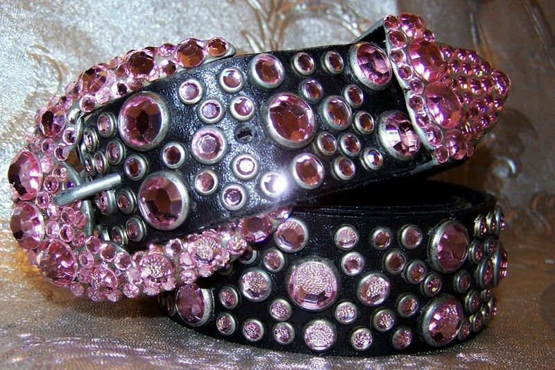 RARE VINTAGE MICHAEL MORRISON MX SWAROVSKI LIGHT ROSE CRYSTAL BELT EXTRA SMALL