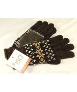 Iso by Isotoner Microluxe Lining Soft Warm Knit Snowflake Gloves One Size Brown