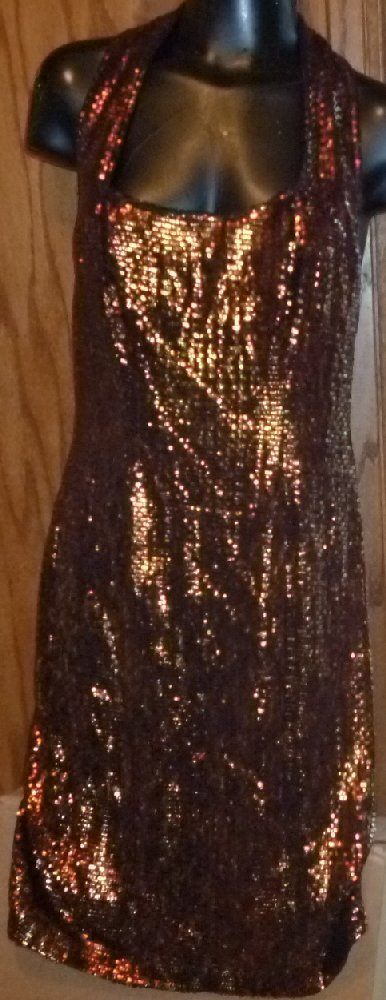 LILLIE RUBIN metallic gold bronze mesh halter bandage Club dress size S