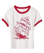 Ladies Nautical Coast Ringer T Shirt Red Sail B... - $14.99