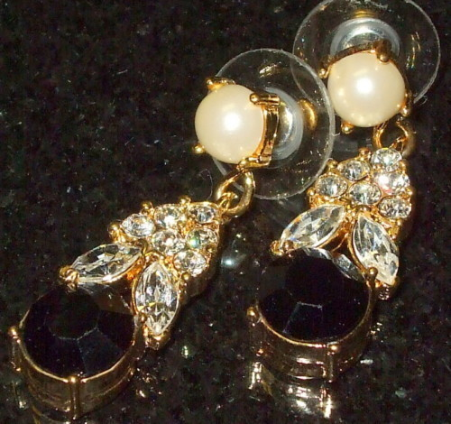 Crystal pearl  black gem cut evening  post dangle earrings