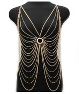 Body Chain Crystal Circle Butterfly Armor Gold ... - $21.99