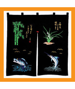 embroidered noren panels sushi curtains doorway... - $29.50