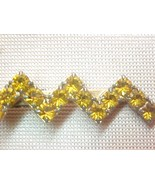 UNISEX Golden Amber RHINESTONE ZigZag Flash Tie... - $9.00